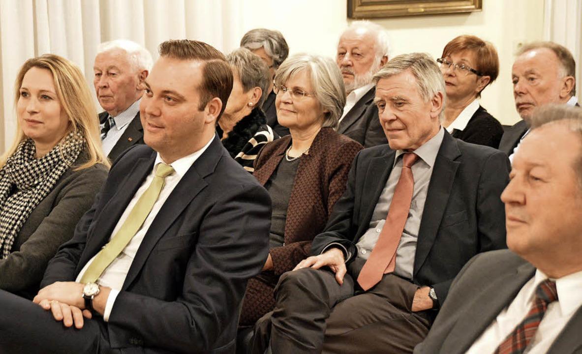 Interessierte Gäste: Felix Schreiner (... (Mitte) beim Neujahrsempfang der CDU   | Foto: Horatio Gollin