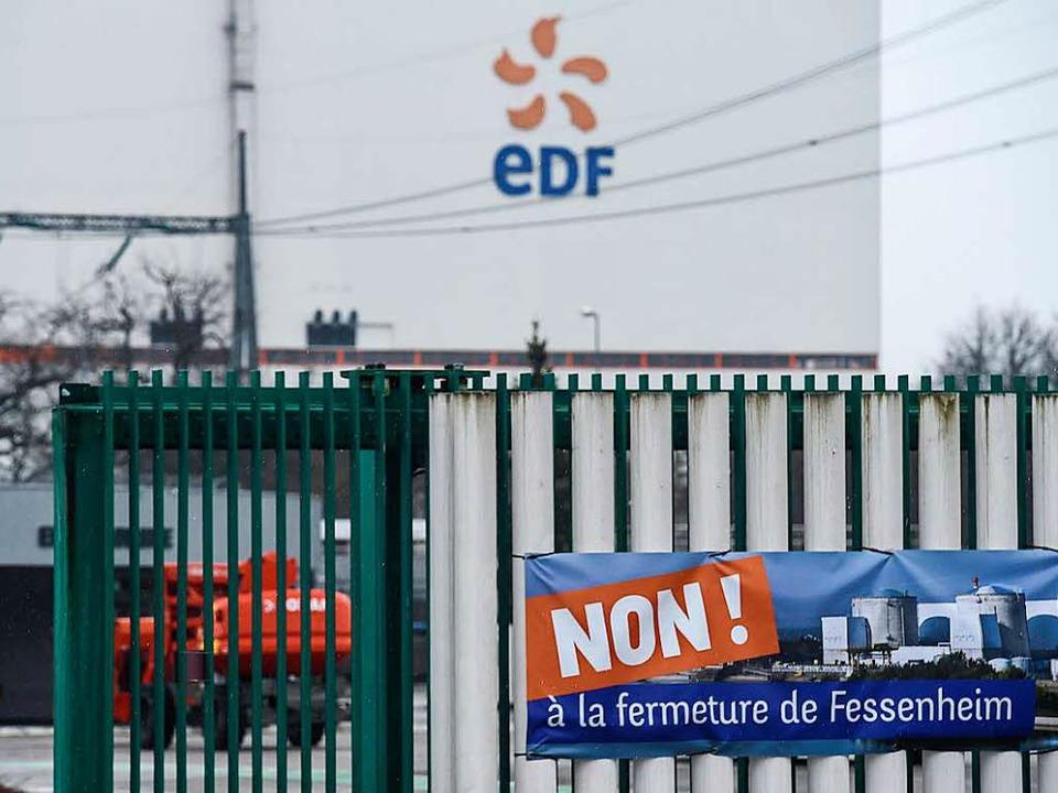 Nein zur Schließung: Die Botschaft die...kates am Akw Fessenheim ist eindeutig.  | Foto: AFP