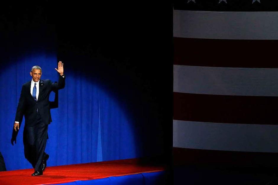 Obama spricht bei seiner Rede über Bürgerpflichten und Hoffnung, Optimismus und von Werten. (Foto: dpa)