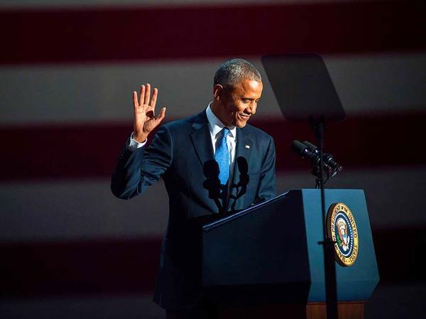 Obama spricht bei seiner Rede über Bürgerpflichten und Hoffnung, Optimismus und von Werten.