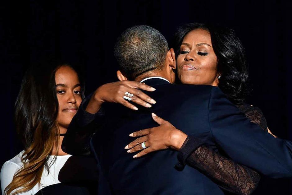 Obama spricht bei seiner Rede über Bürgerpflichten und Hoffnung, Optimismus und von Werten. (Foto: AFP)
