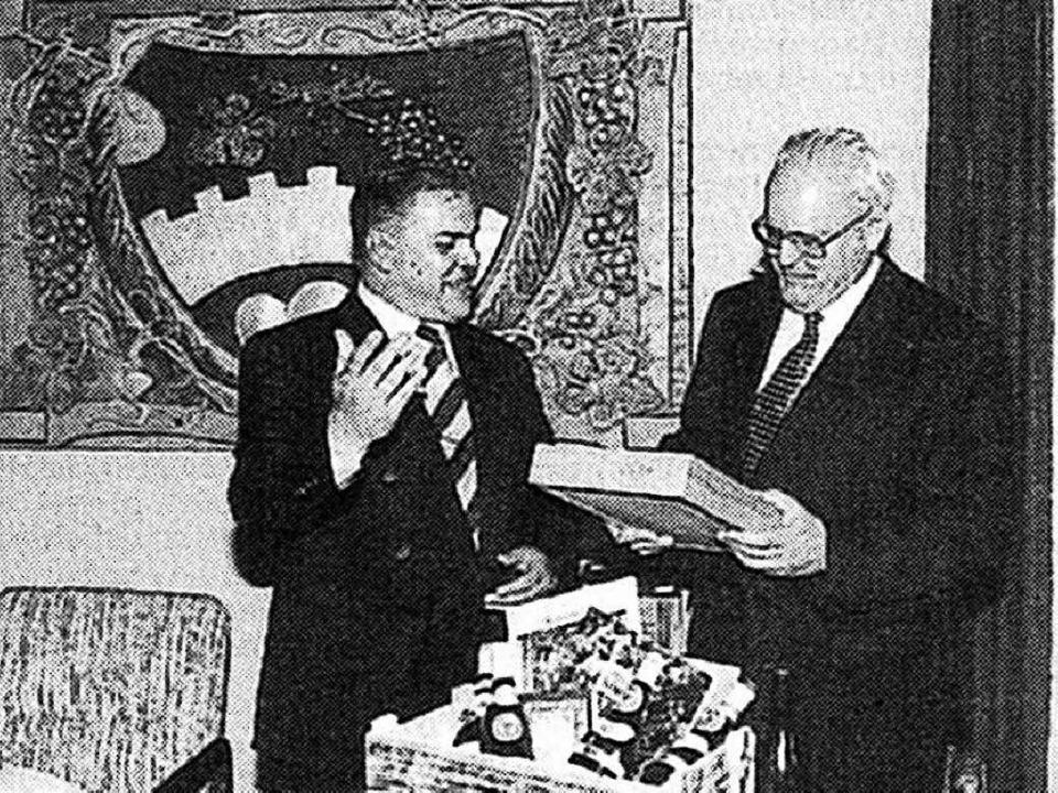 Am 4. Juni 1994 wurde  Roman Herzog (r...k gab es natürlich Kaiserstühler Wein.    Foto: Gerold Zink