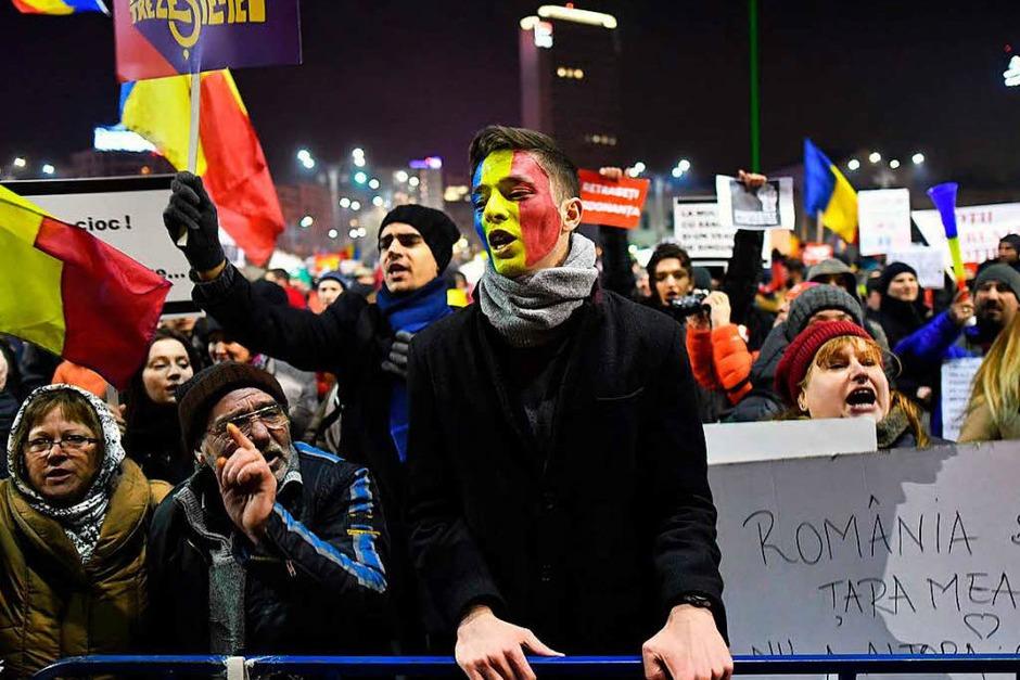 Proteste in der rumänischen Hauptstadt Bukarest. (Foto: AFP)