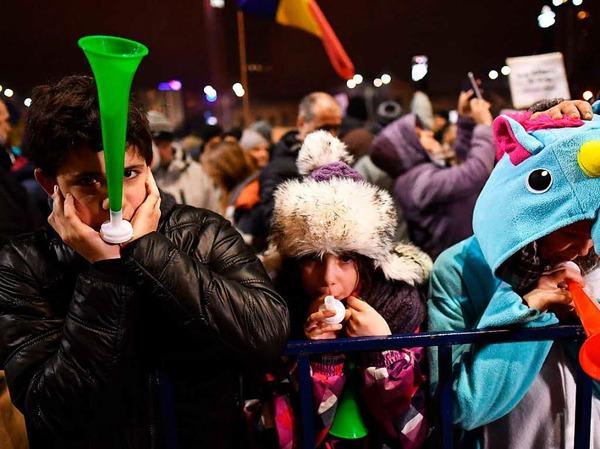 Proteste in der rumänischen Hauptstadt Bukarest.