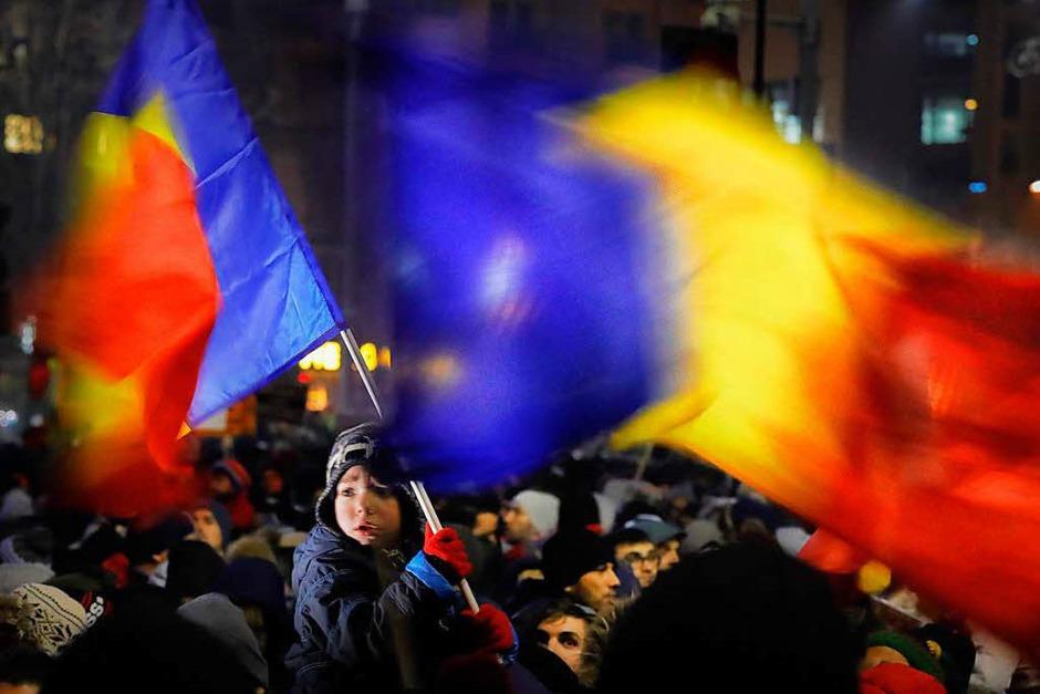 Proteste in der rumänischen Hauptstadt Bukarest. (Foto: dpa)