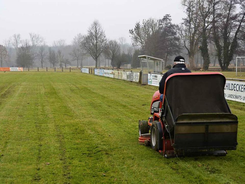 Wegen der feuchten Witterung ist das Rasenmähen zur Zeit besonders aufwändig.  | Foto: Moritz Lehmann