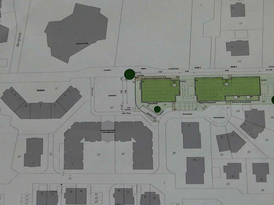 DerLageplan mit der Begegnungsstätte (grün). Oben links die Kageneckhalle.  | Foto: Markus Donner