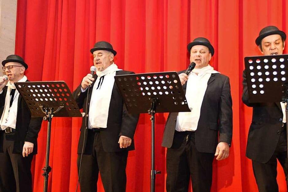 Die Hebeldorf-Harmonists: Roland Schlageter, Gerhard Kiefer, Jörg Jost und Mario Brugger (Foto: Edgar Steinfelder)