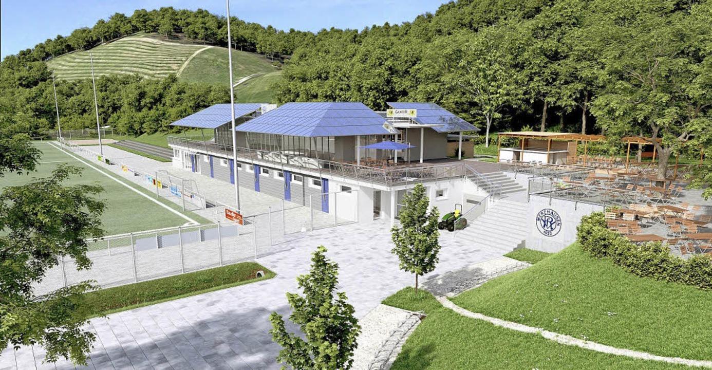 So könnte das neue Vereinsheim des VfR Merzhausen aussehen.  | Foto: Visualisierungen: Imberi