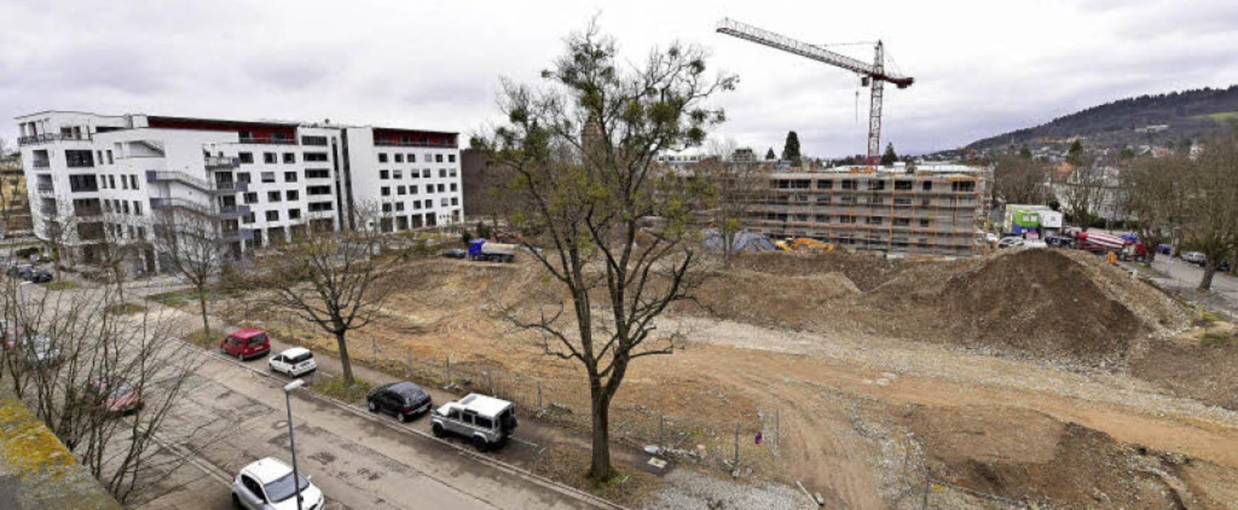 Auf diesem 6200-Quadratmeter Grundstüc...traße zu sehen, rechts die Karlstraße.  | Foto: Thomas Kunz