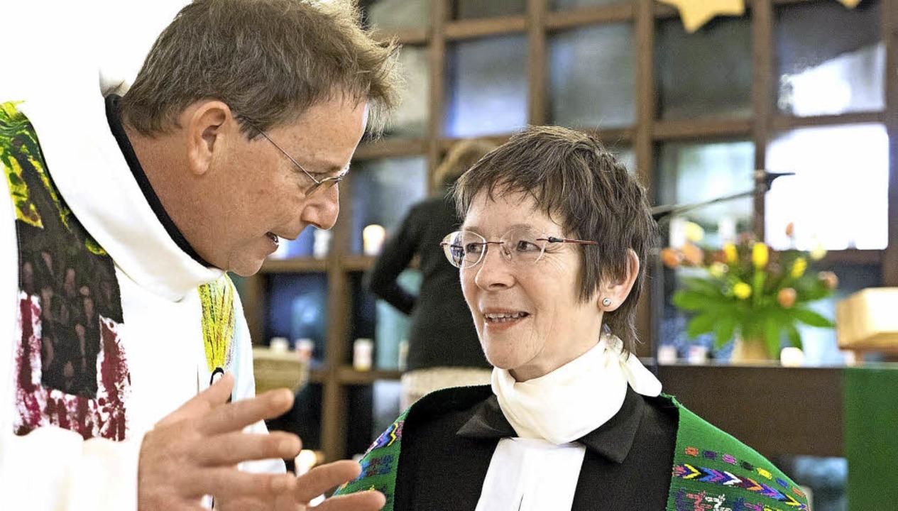 Münsterpfarrer Werner Bauer und  Chris... viel Wert auf die Pflege der Ökumene.    Foto: Martin Hau