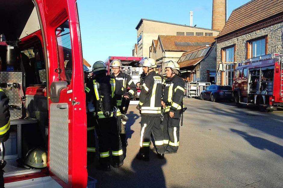 Bei der Lauffenmühle in Lörrach-Brombach ist ein Container mit Chemikalien in Brand geraten. Laut Polizei ist die Situation unter Kontrolle. (Foto: Peter Gerigk)