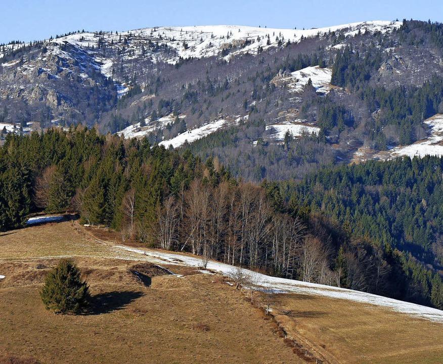 Alles friedlich heute: Blick vom Hau-P... Richtung Norden auf den Belchengipfel  | Foto: Sattelberger
