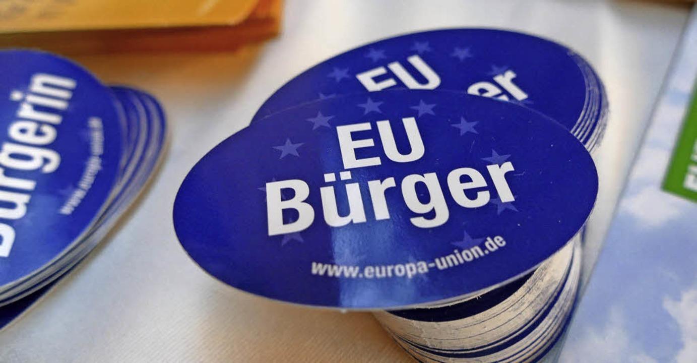 Die Europa-Union wirbt für den Zusammenhalt.   | Foto: Susanne Müller
