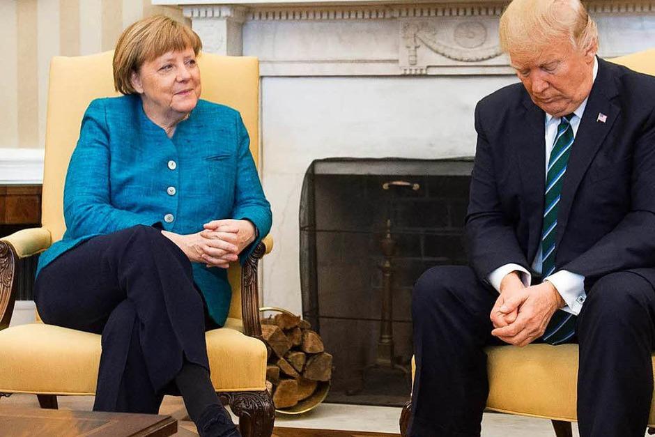 Merkel und Trump im Oval Office. (Foto: AFP)
