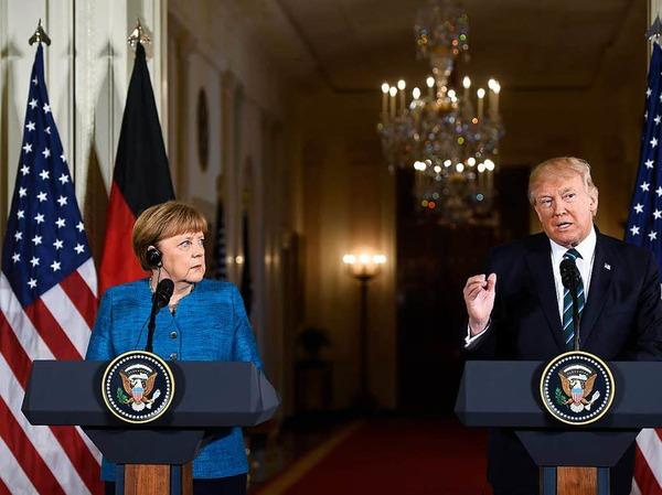Die erste gemeinsame Pressekonferenz: Angela Merkel und Donald Trump im Weißen Haus.