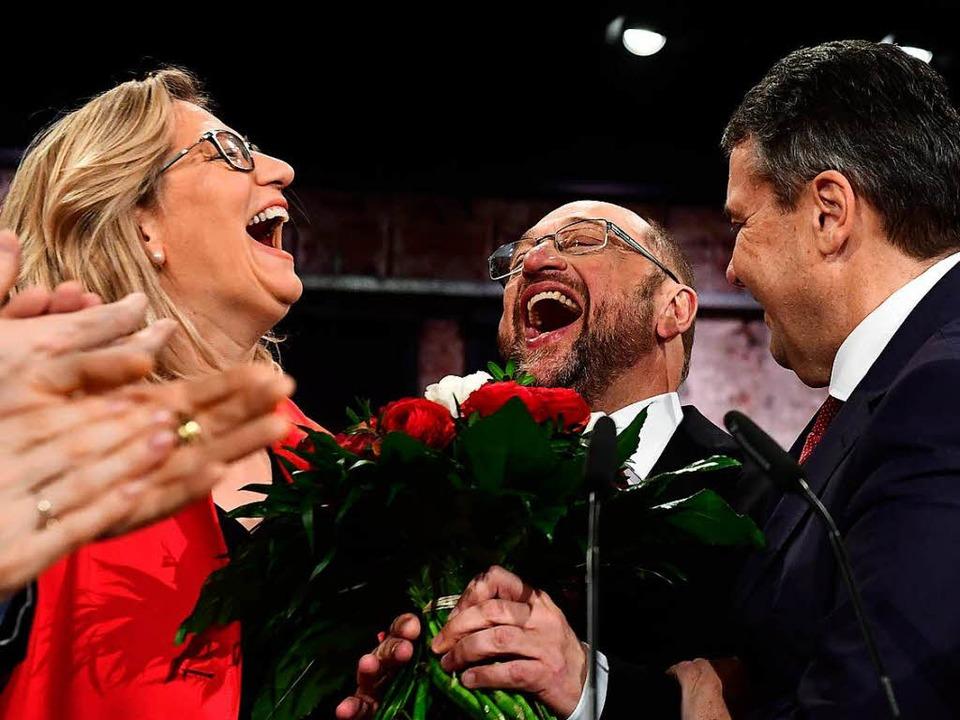 Pure Ekstase: Der neugewählte SPD-Vors...dtagswahl im Saarland, Anke Rehlinger.  | Foto: AFP