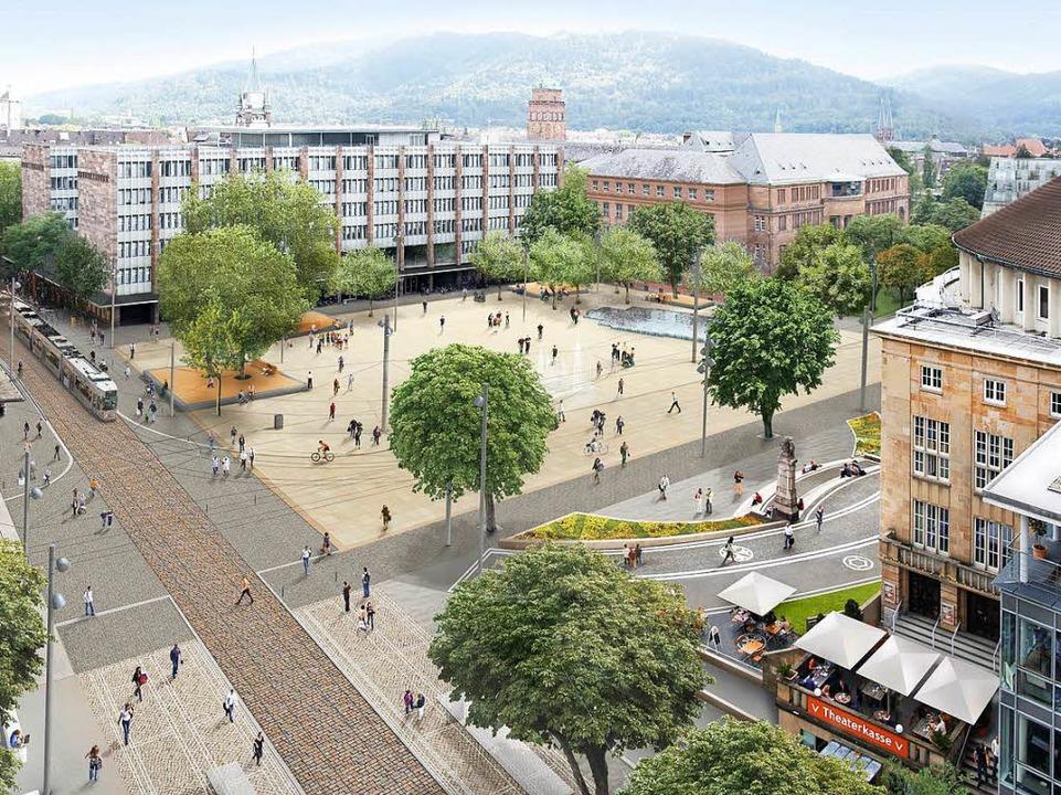 So soll's mal aussehen: der neue Platz der alten Synagoge mit den Bäumen  | Foto: Markus Dold