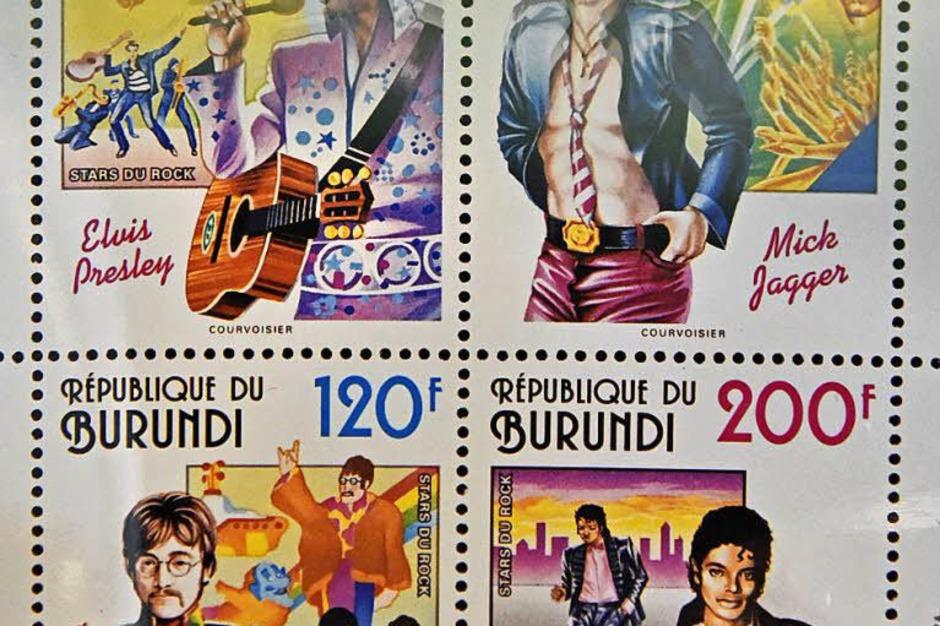 Burundi ehrte Elvis Presley, Mick Jager, Michael Jackson und John Lennon mit Briefmarken (von links oben im Uhrzeigersinn). (Foto: Michael Bamberger)