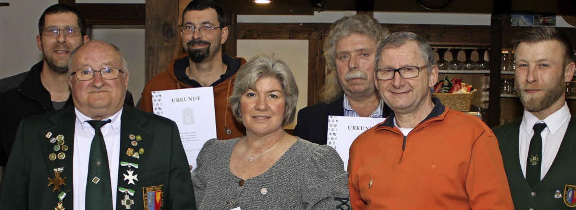 Ehrungen beim KK-Schützenverein Rust :...red Mutz, Alois Fix und  Armin Rother.  | Foto: Adelbert Mutz