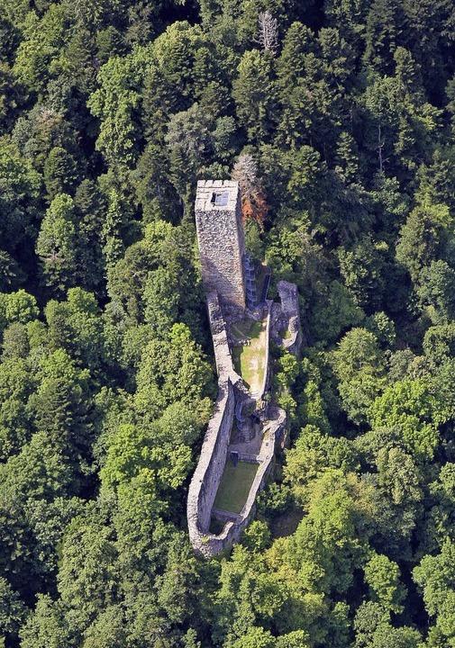 Die Burgruine Wieladingen aus der Luft  | Foto: Archivfoto: erich Meyer