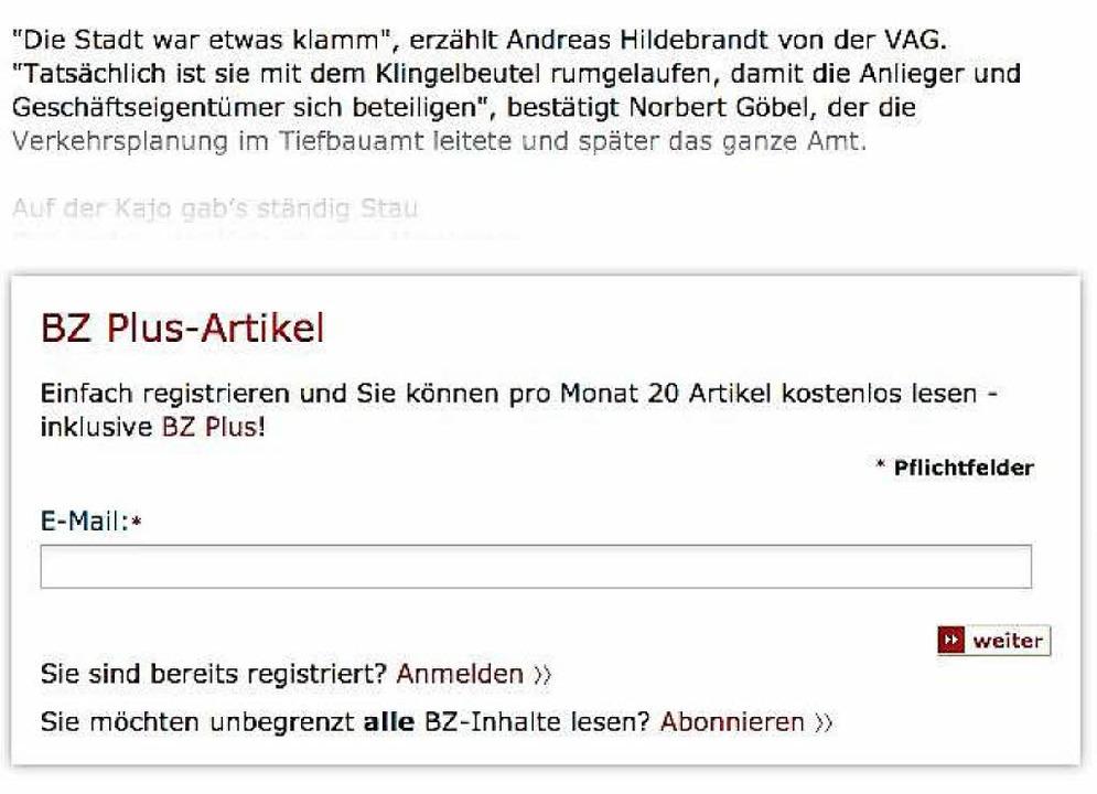 Wer sich bei der BZ kostenlos registri...eenshot zeigt die Registrierungsmaske.  | Foto: bz