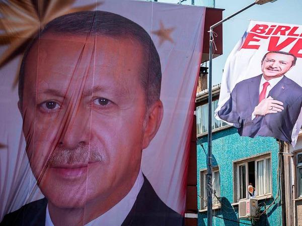 Poster mit dem Bild von Präsident Recep Tayyip Erdogan