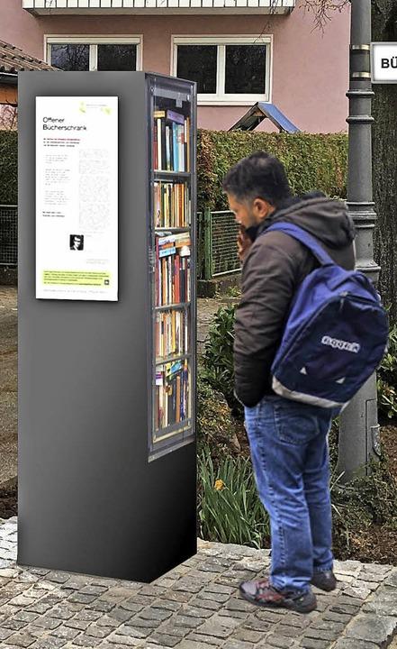So wird der Bücherschrank in Ortenberg aussehen.   | Foto: Modell: stiftung
