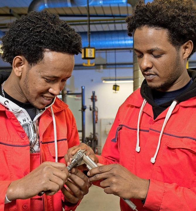 Flüchtlinge bei der Arbeit   | Foto: DPA