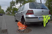 Unfallauto auf dem Radweg