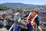 Fotos: Mit einem Riesenhubsteiger auf Turmkontrolle am Münster