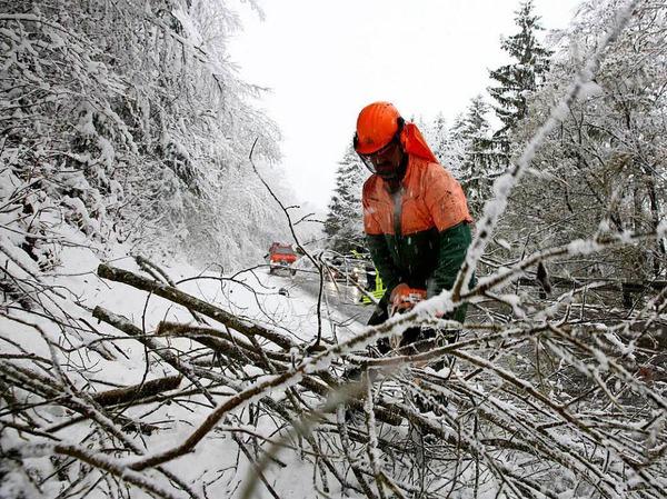 Ein Feuerwehrmann zersägt  einen durch die Schneelast umgestürzten Baum, der auf der L275 bei Ittenhausen