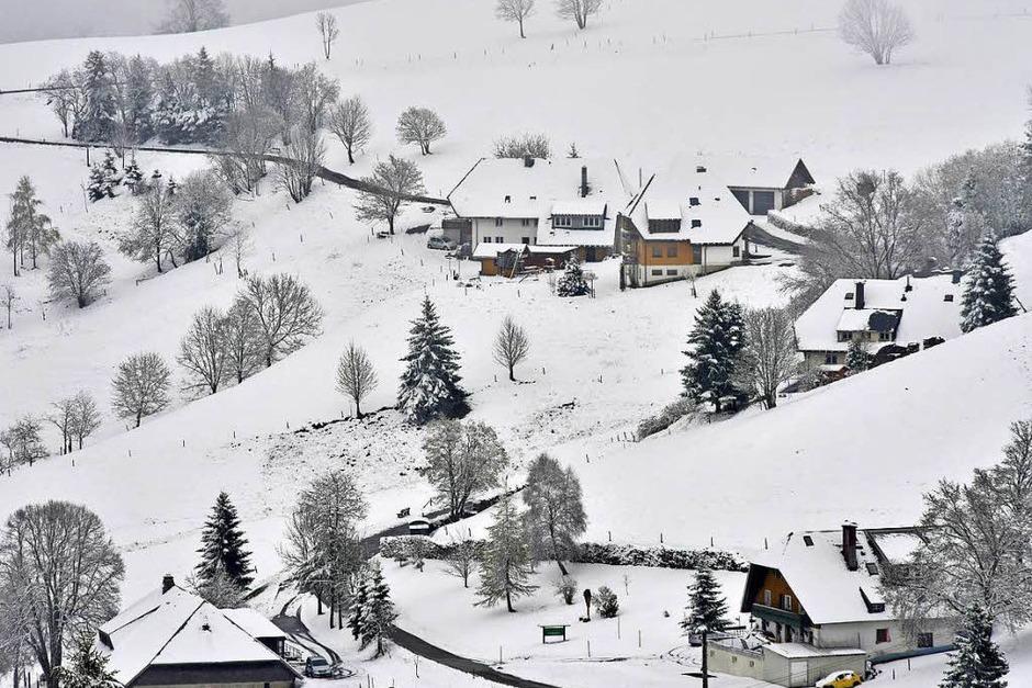 Weiße Dächer, eisige Bäume: Blick vom Schauinsland auf Hofsgrund (Foto: Michael Bamberger)