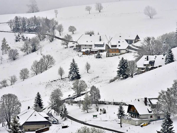 Weiße Dächer, eisige Bäume: Blick vom Schauinsland auf Hofsgrund
