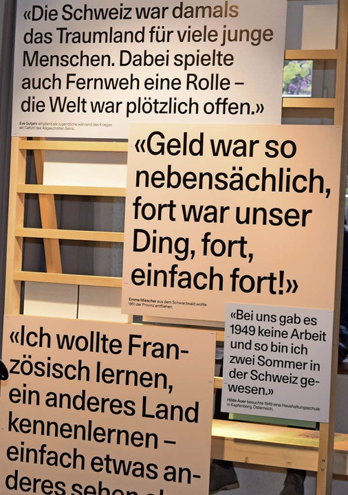Tafeln mit Zitaten an der Ausstellung im Dreiländermuseum  | Foto: Sandra Raith