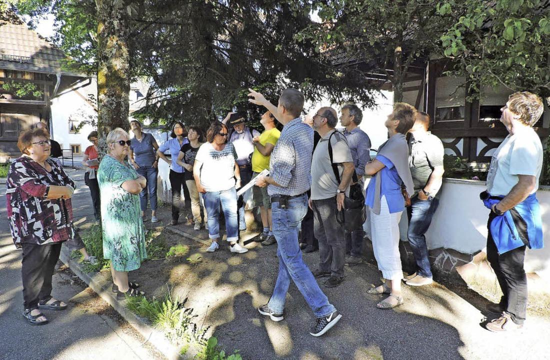 Ortsbegehung des Ortschaftsrats mit Bü...iefe Delle im Asphalt endgültig durch.  | Foto: Fotos: Sredniawa/Hünerfeld