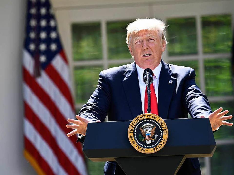 """""""Ich wurde gewählt, um Pittsburg...rache im Rosengarten des Weißen Hauses    Foto: AFP"""