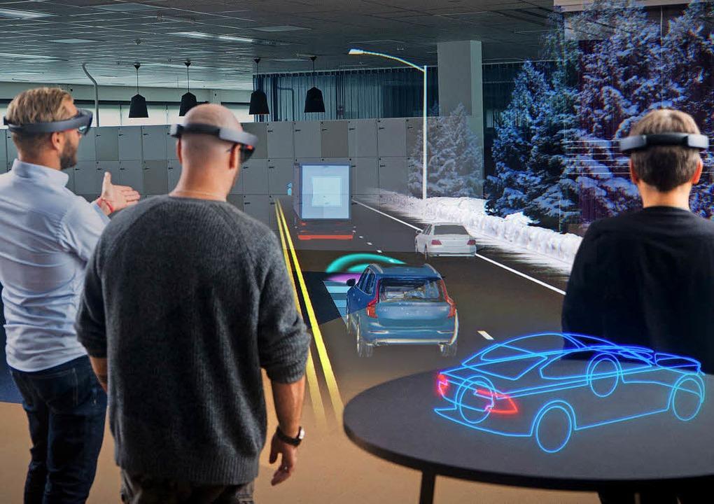 Virtuelle Auswahl: Bei der Präsentatio...tung setzt Volvo auch auf 3D-Brillen.     Foto: Volvo (dpa)
