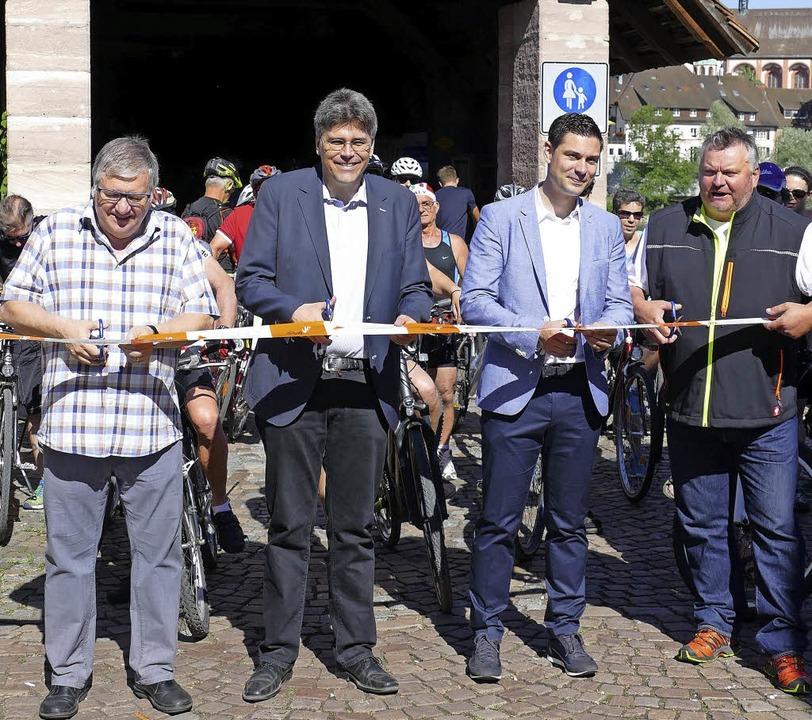 Hansueli Bühler, Martin Kistler, Benja...nd Armin Eschbach (von links) in Stein  | Foto: David Rutschmann