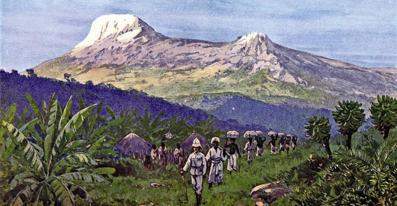 Der Kilimandscharo, hier etwas fantasi...  ein Gemälde   von Rudolf Hellgrewe.   | Foto: Privat