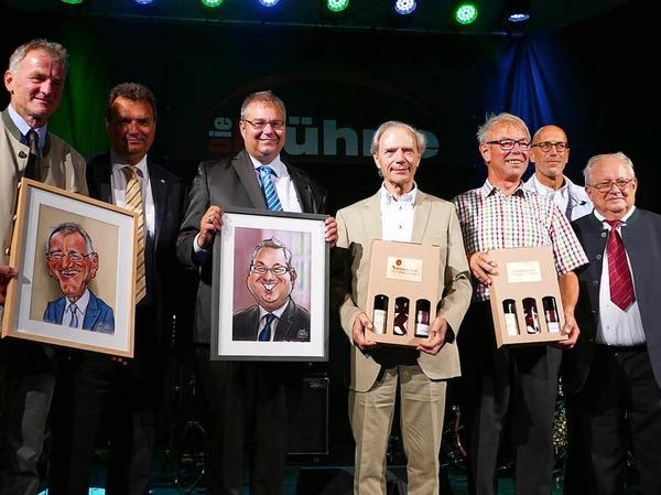 Bürgermeister und Altbürgermeister (von links) Michael Fahrnberger (Göstling), Karl Schlögl (Purkersdorf), Alexander Guhl und Günther Nufer (Bad Säckingen), Franz Heigl (Göstling), Martin Weissbrodt  (Bad Säckingen) und Viktor Gusel (Göstling)