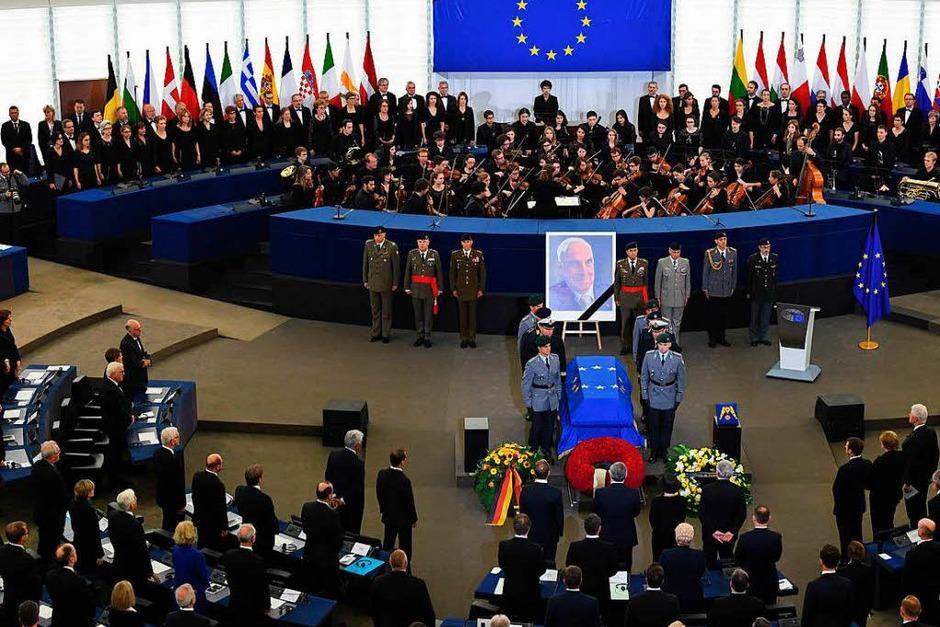 Trauerfeierlichkeiten für Altkanzler Helmut Kohl in Straßburg (Foto: dpa)