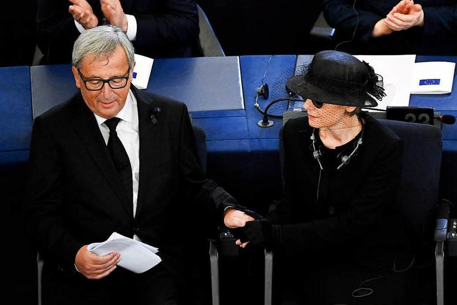 EU-Kommissionspräsident Jean-Claude Juncker und Maike Kohl-Richter (Foto: dpa)