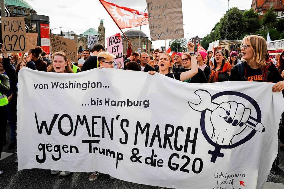 Der Women's March gegen G-20 (Foto: dpa)