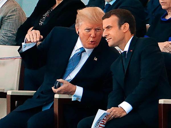 US-Präsident Trump mit dem französischen Präsidenten Macron