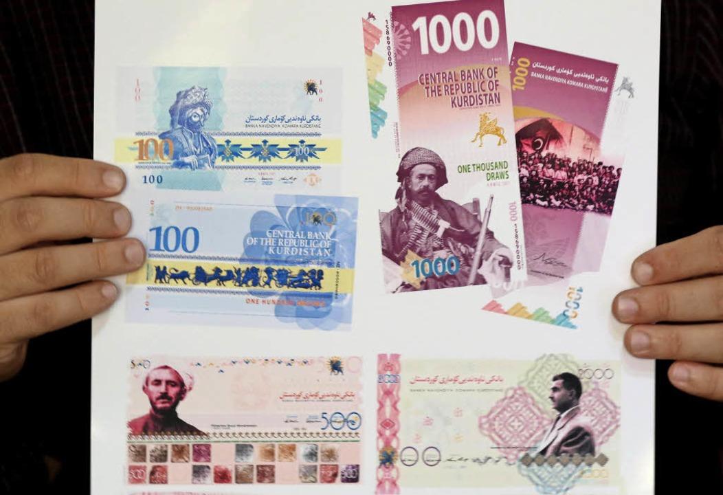 Entwürfe von Geldscheinen für einen unabhängigen Kurdenstaat im Nordirak   | Foto: AFP