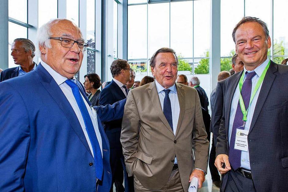 Martin Herrenknecht, Gerhard Schröder und Landrat Frank Scherer (Foto: Herrenknecht AG )