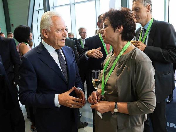 Rüdiger Grube und Oberbürgermeister Edith Schreiner