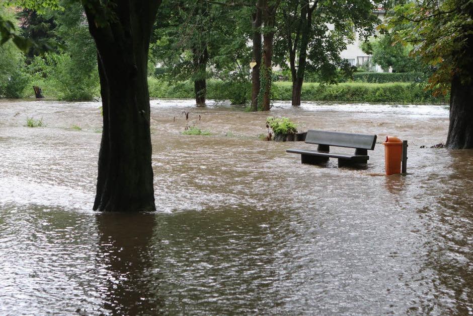 Während des Dauerregens ist in Wernigerode in Sachsen-Anhalt eine 69-Jährige in der Nähe eines Flusslaufes verschwunden. Die Frau wohne direkt an der Holtemme, sagte ein Polizeisprecher am Mittwoch. Es könne nicht ausgeschlossen werden, dass die Frau  in den stark angestiegenen Fluss gefallen ist. Die 69-Jährige wurde bis zum Mittag noch nicht gefunden. (Foto: dpa)