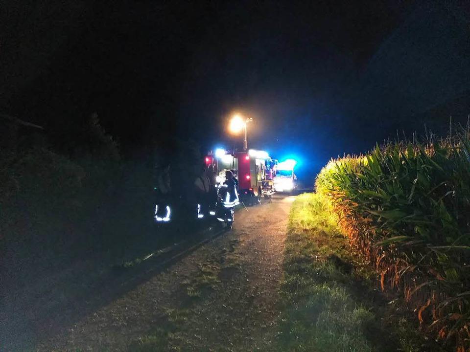 Die Rettungskräfte waren bis in die frühen Morgenstunden im Einsatz.  | Foto: Feuerwehr Rheinau